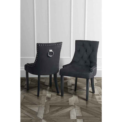 Cornelia Dining Chair Black Velvet INTROTILBUD