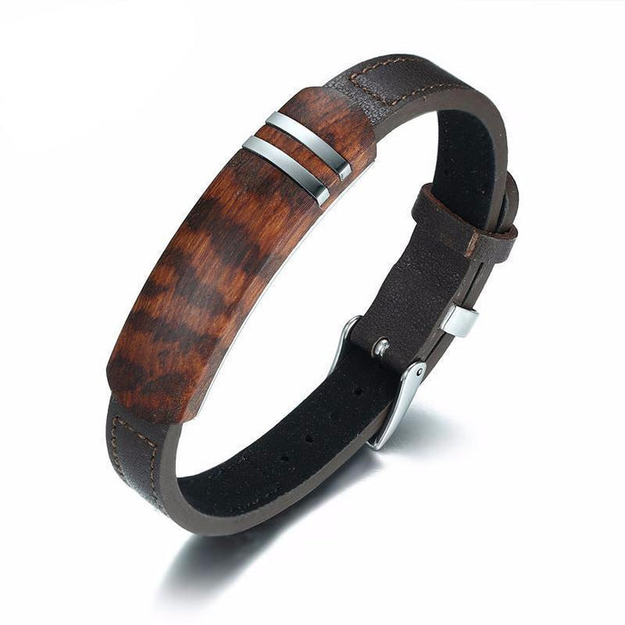 Antique Rosewood Leather Bracelet