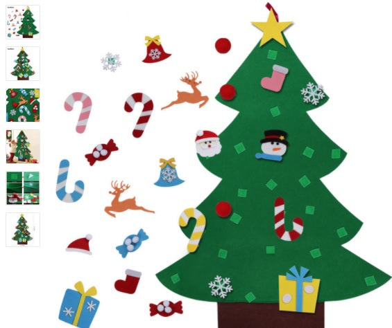 Free SHIPPING TO USA via ePacket - Kids Christmas Tree with Ornaments Door Wall Hanging