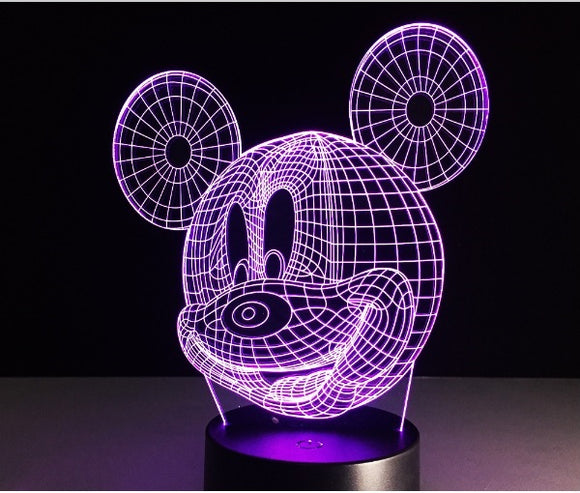 Free Shipping to USA via ePacket - 3D Hologram Mickey Lamp Night Light