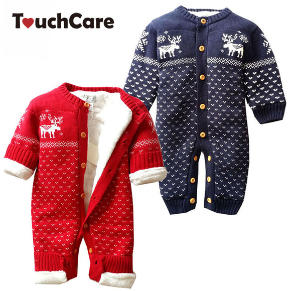Winter Warm Cotton Cartoon Christmas Deer Baby Boy Girl RomperS Newborn Cute Fleece Long Sleeve Kids Clothes Toddler Jumpsuit