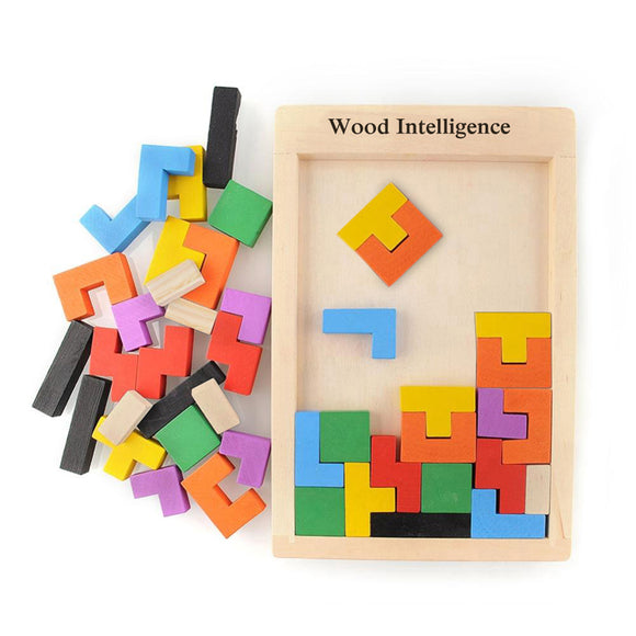 Mindlab Collection - Colorful Wooden Tangram Brain Teaser Puzzle Toys Tetris Game