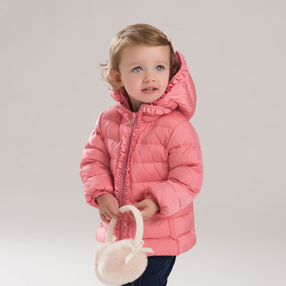 baby girl down jacket with ruffle