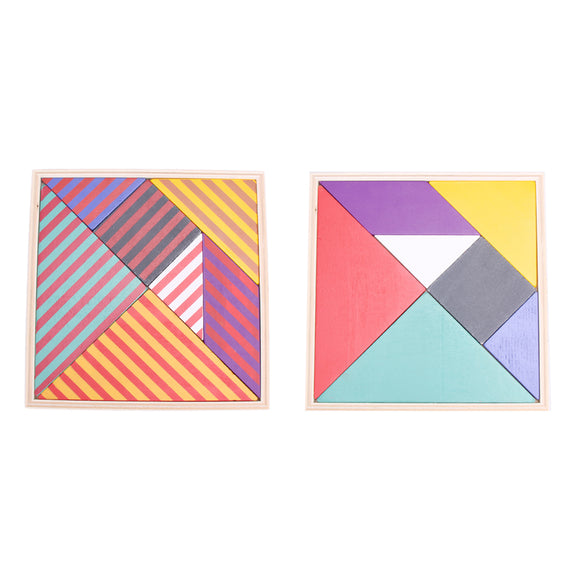 Mindlab Collection - 1pcs Wooden Toys Tangram Double Side Color