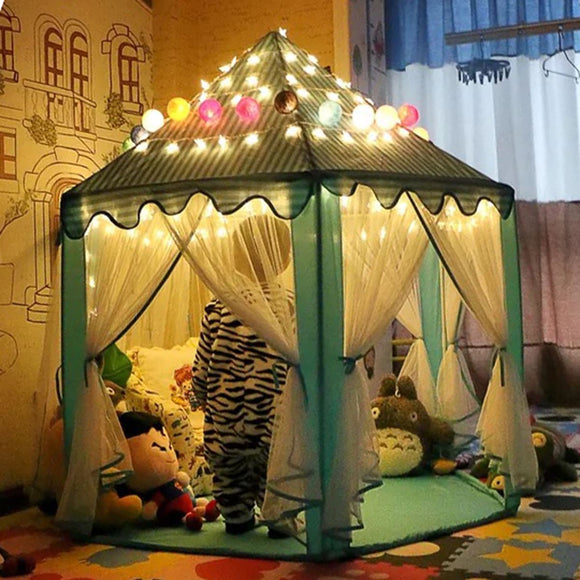 Portable Princess Castle Play Tent With Light Playhouse