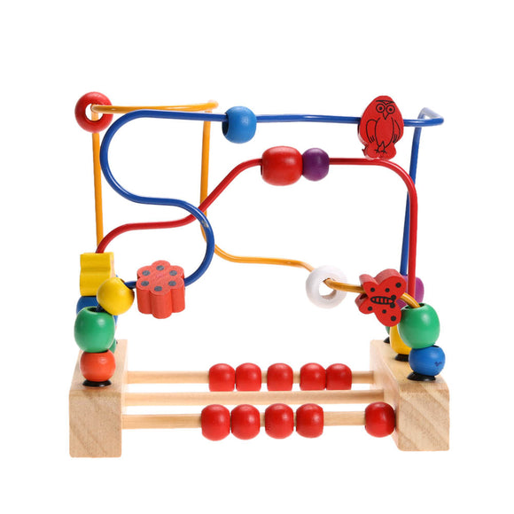 Wooden Toys Counting Animal Bead Wire Maze Roller Coaster Early Educational Toys for Children Baby Kids Christmas Gift