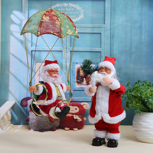 Electric Parachute Santa Claus Plush Doll Navidad Decoration Christmas Tree Ornament Christmas Kids Gifts