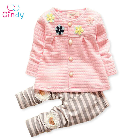 Baby girls spring autumn christmas outfits clothing sets children tracksuit set flower cardigan suit kids girls set
