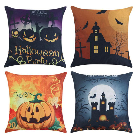 Halloween Cushion Covers Pumpkin Castle Pillow Case Linen Square Throw Pillow Cover Home Bedroom Sofa Decoration