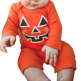 Fashion 2017 Orange Infant Kid Baby Girl Boy Full Cotton Halloween Pumpkin Devil Romper Coverall Teddy Leotard