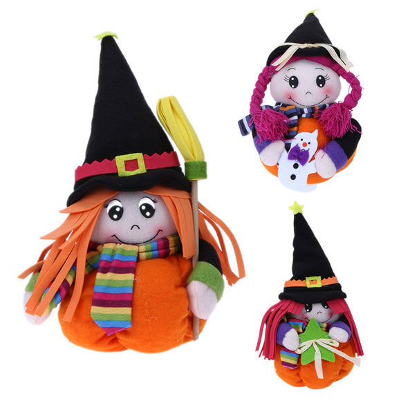 Halloween Pumpkin Doll Creative Lovely Girls Dolls Children Pumpkin Decoration Ornaments for Birthday Christmas Toys Gift