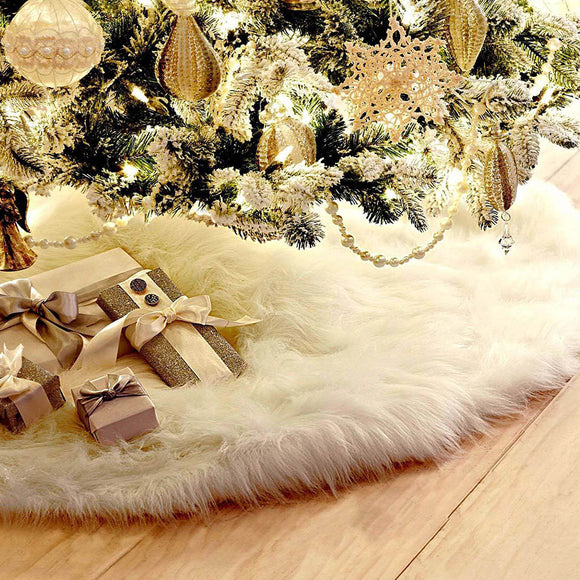 Luxury White Plush Christmas Tree Skirt (mat) Diameter 78cm
