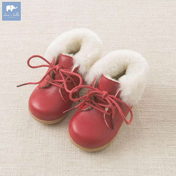 Autumn Winter Baby Girl Leather Red Shoes
