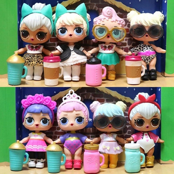8pieces Cute Lol Doll, including clothes and bottles