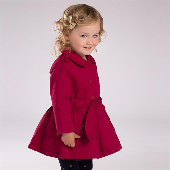 Baby girls rose trench with big bow stylish coat outerwear