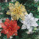 10pcs Colourful Glitter Artificial Hollow Flowers for Christmas Trees