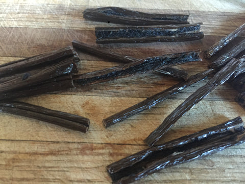 Sliced Vanilla Beans for Extract