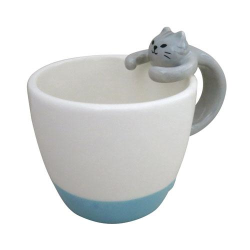 Cat Mug Blue Bottom | Grey Cat