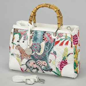 Alex Max Print Bamboo Hand Bag | White