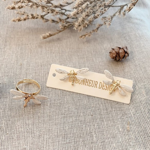 Le Bonheur Design | Dragonfly Clip-on Earrings (3804230811682)