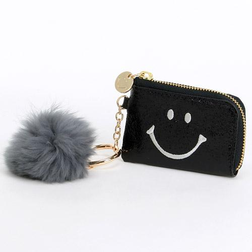 Smiley | Glitter Pouch with Rabbit Pompom | Black (3841827864610)