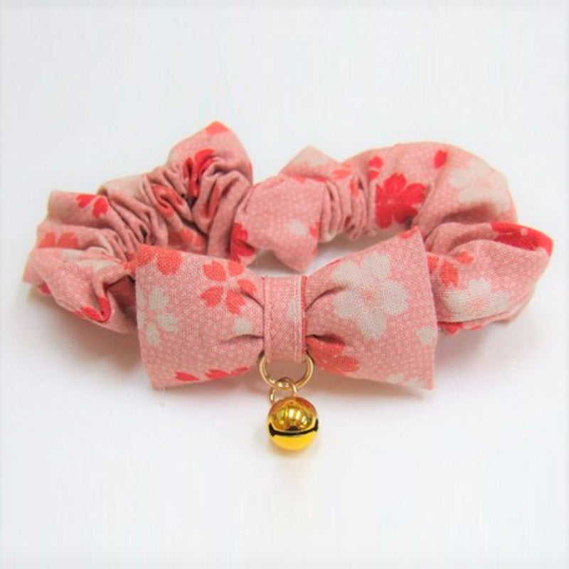 Pet Wear | Cat Collar | Elegant Scrunchy Cherry Blossoms | Pink | 正價