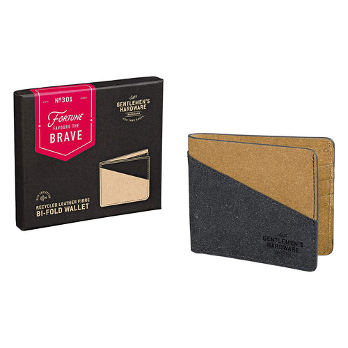 Bi-Fold Wallet Recycled Leather Black & Tan (1613071548450)
