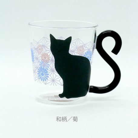 Cat Glass Mug | Blue Chrysanthemum