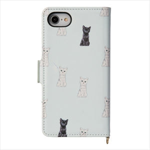 IPhone Flip Type Case - Chess Cat Aqua | Blue