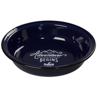 Enamel Pasta Plate blue body black rim