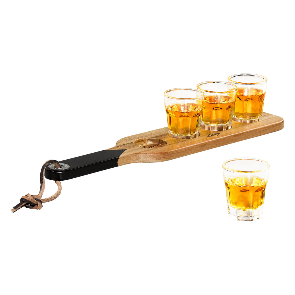Serving Paddle & Shot Glasses