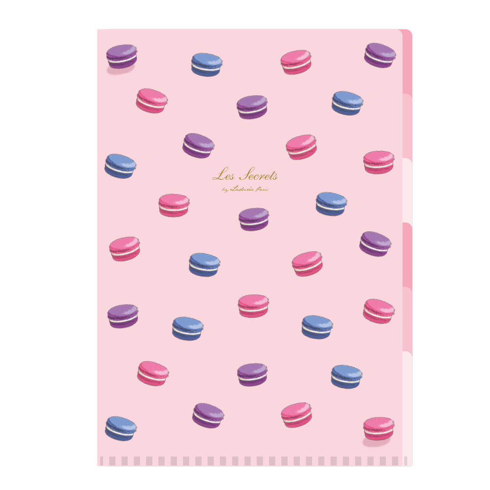 A4 5 Pockets Clear File | Macaron Rose