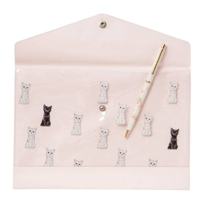 A5 Stationery Case - Chess Cat Apricot | Pink (1692479815714)