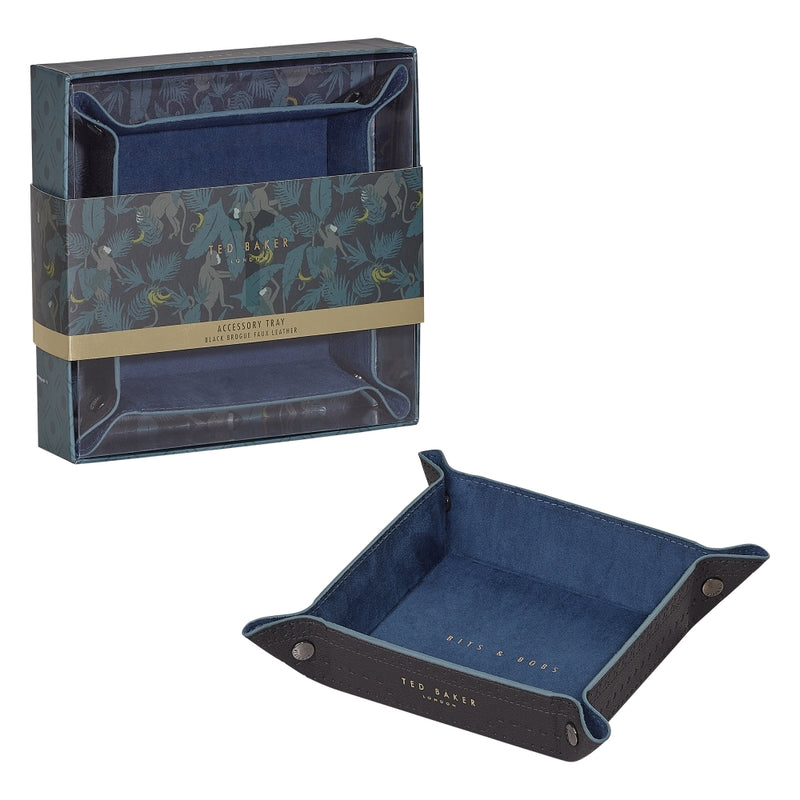 Accessory Tray | Black Brogue Faux Leather (4585427009610)