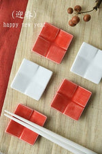 Miyama | Chopstick Rest | Checkered Pattern | Red & White | 正價