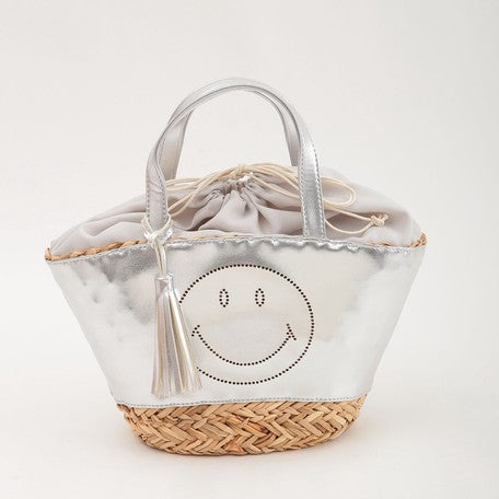 Smiley | Fake Leather Tote Bag | Sliver | 正價 (4792908185674)