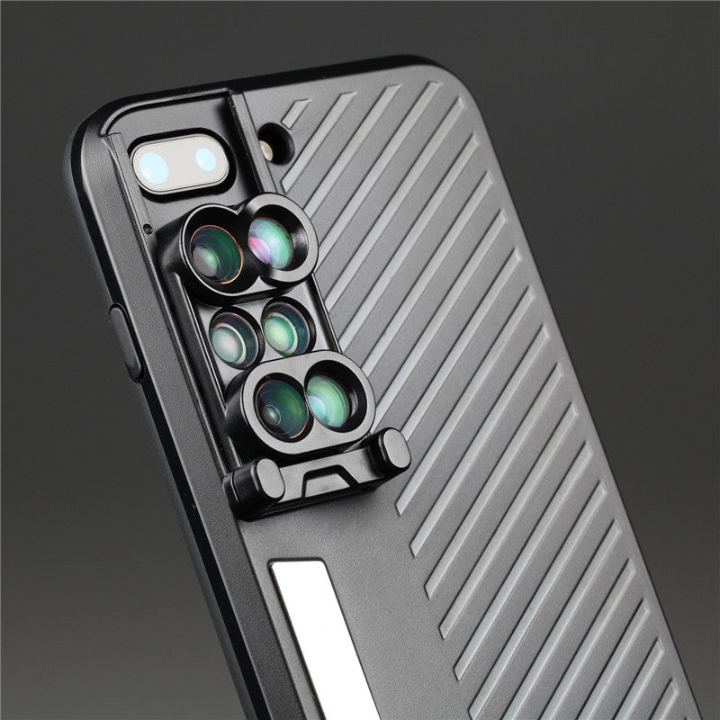 6 in 1 camera lens phone case for iphone 7 8 plus