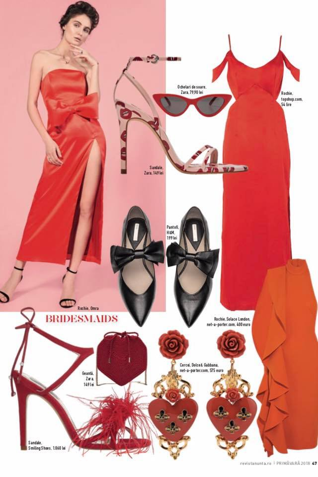 OMRA red dress featured in Revista NUNTA