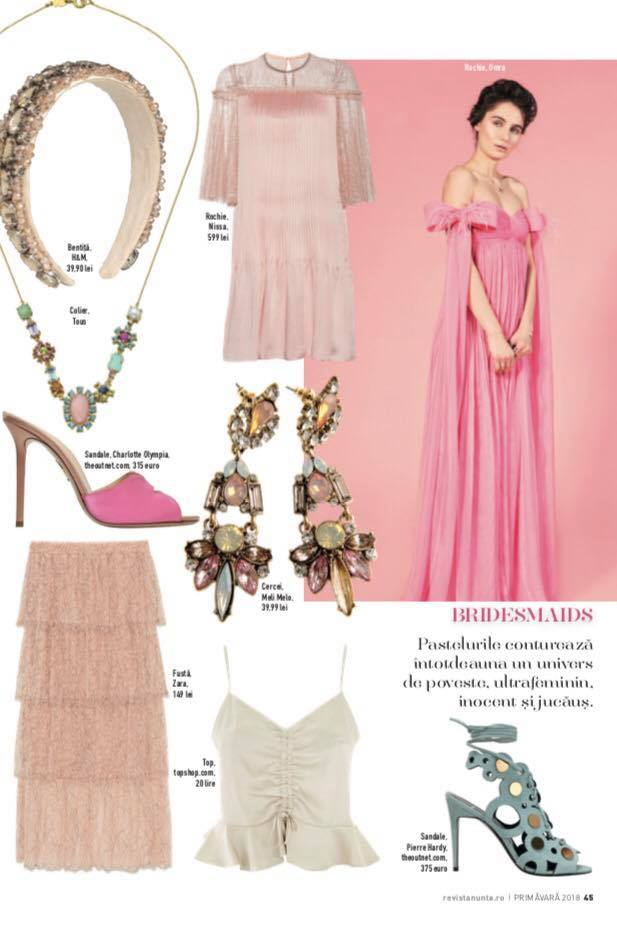 OMRA pink dress featured in Revista NUNTA