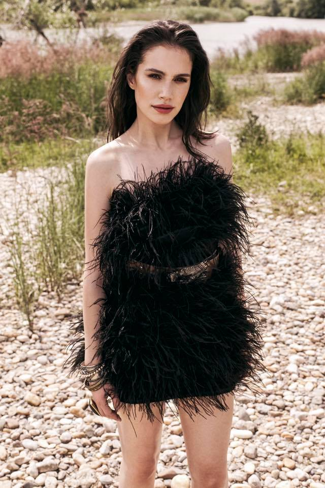 OMRA feathers dress featured in Marie Claire Magazine