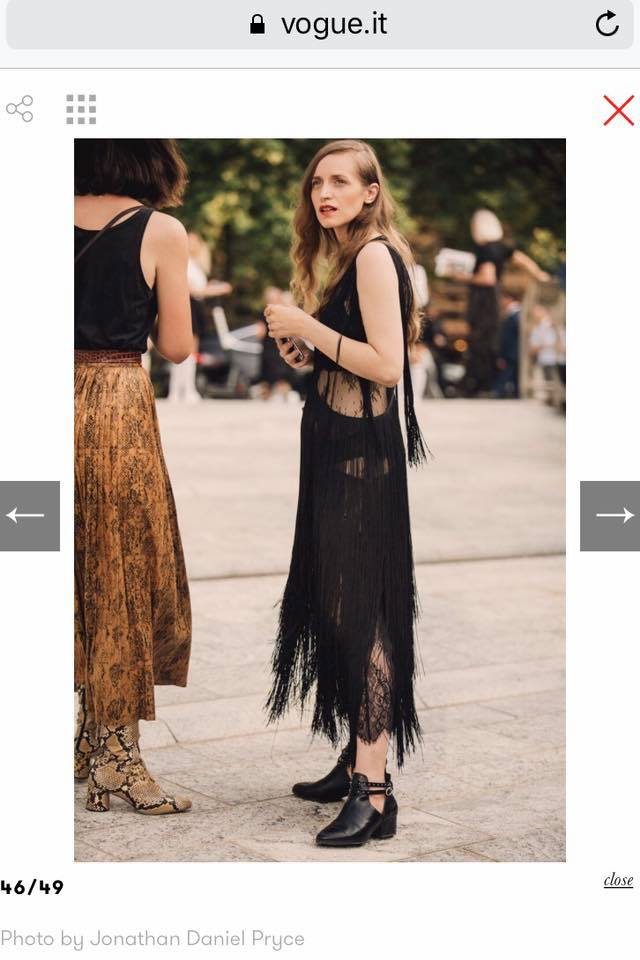 Cristina Candea wearing OMRA dress featured in VOGUE ITALIA as best street style at MFW