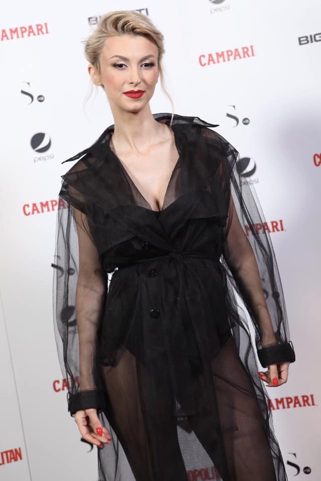 Andreea Balan sexy and chic in OMRA sheer black trench at Cosmopolitan Anniversary Party!