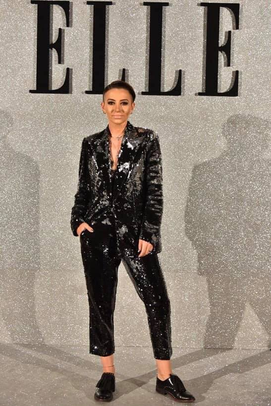 Giulia Anghelescu sharp and stylish in OMRA sequins suit at ELLE Style Awards