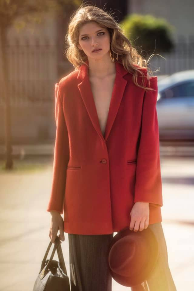 OMRA red cashmere coat featured in Marie Claire Magazine
