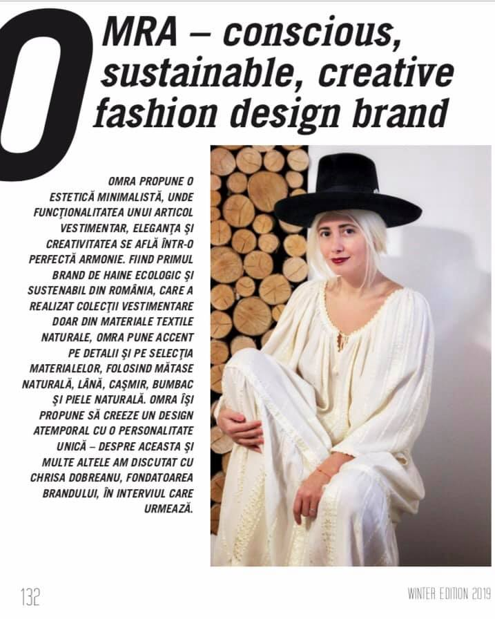 Chrisa Dobreanu's interview about OMRA in the latest issue of Luxury Magazine