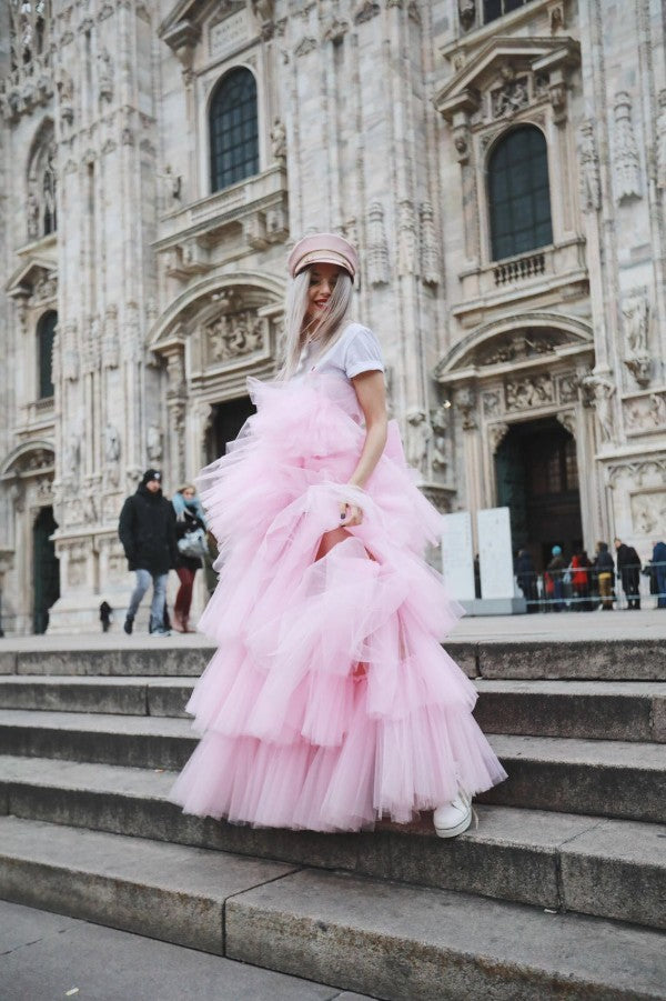 Carmen Grebenisan wearing OMRA candy dress at Milano Fashion Week