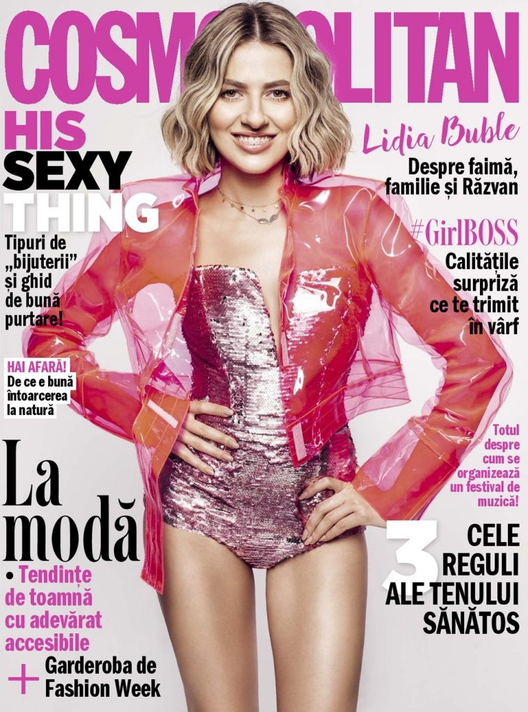 Lidia Buble wearing OMRA design on the cover of COSMOPOLITAN Romania