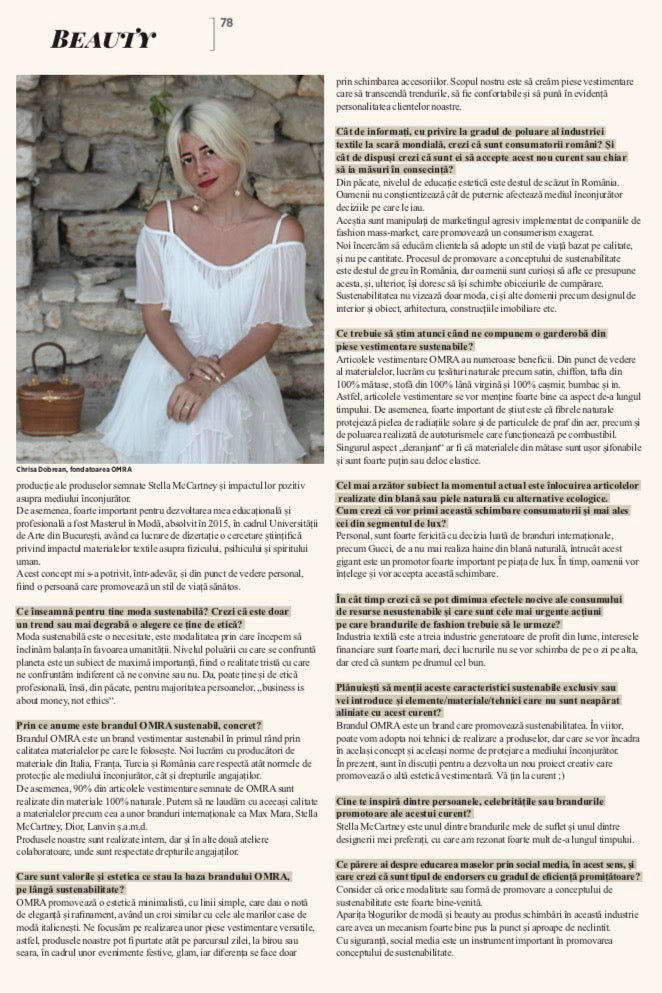 OMRA's conscious designer, Chrisa Dobreanu, interviewed in Forbes Life Magazine