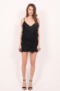 Mykonos black silk ruffles mini dress