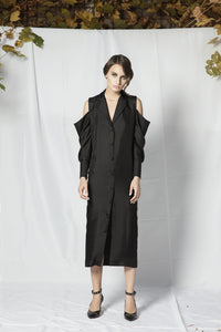 M28 off-shoulder black silk dress